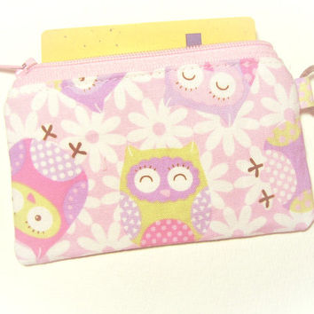 Owl fabric zip purse id1330963 for card, coin, thumbdrive, work lanyard tag, jogging purse