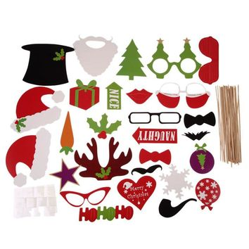 28pcs DIY Christmas Halloween Decoration Supplies Photo Booth Props Mustache Glasses On A Stick Wedding Birthday Party Gift