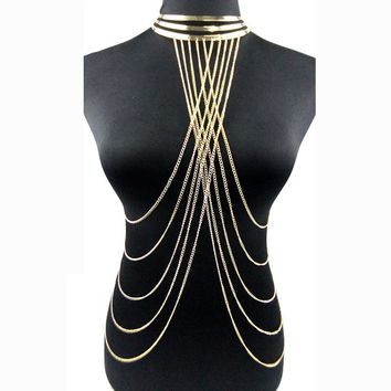 Sexy Multilayer Long Tassel Body Necklace