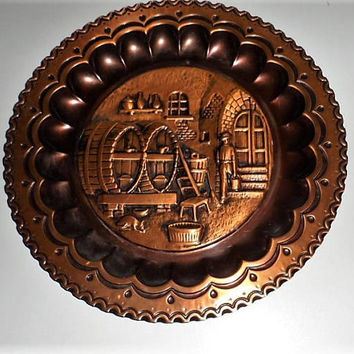 1950s Belgian Red Copper Repousse Metal Worked Wall Decor Plate/Red Copper Repousse Art Worked Plate/Unsigned Hammered Copper Art Work