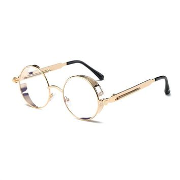Round Flat Mirror Sunglasses Fshion Vintage Sunglasses Women Men Glasses