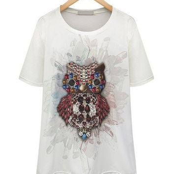 White Beaded Owl Print Short Sleeve Top