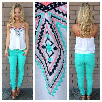 Mint & Pink Embroidered Maycie Tank