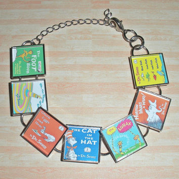 Dr. Seuss Book Cover Bezel Bracelet - Silver Resin Bracelet