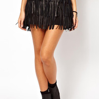 Black Leather Fringed Layer Mini Skirt