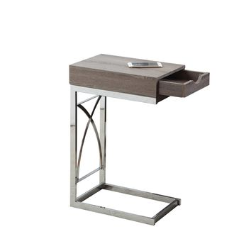 Accent Table - Chrome Metal / Dark Taupe With A Drawer