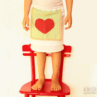 Valentine Girls apron skirt pattern - easy sewing PDF tutorial - sizes 6m to 9 yeas