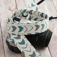 dSLR Camera Strap - Slate Blue and Grey on Off White - Modern Camera Strap dSLR