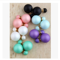 Double Sides Matt Candy Color Round Ball Stud Earrings