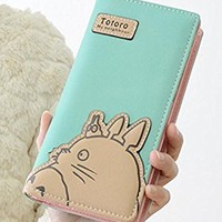 J Conner Hayao Miyazaki Anime My Neighbor Totoro Cute Fashion Cartoon Woman Bifolded Wallet Girl Students Long Purse (green)