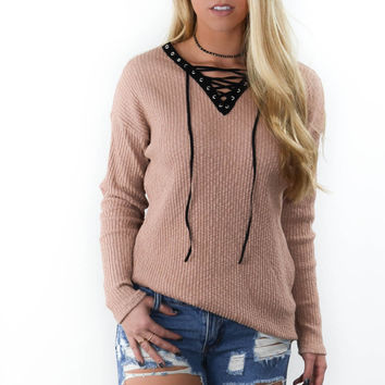 One Dance Coffee Long Sleeve Sweater Top