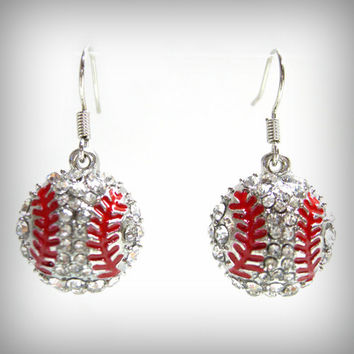 Baseball Crystal Earrings