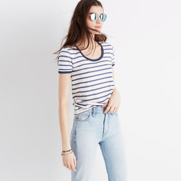 Recycled Cotton Ringer Tee in Harmon Stripe : | Madewell