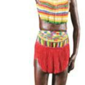 Zulu Maiden Standing with Water Jug on Head Statue, African 13.75H