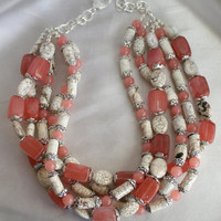 Chunky Cherry Quartz Statement Necklace, White Turquoise Statement Necklace, Red and White Necklace, Tibetan Silver Beads, Big Bold Necklace