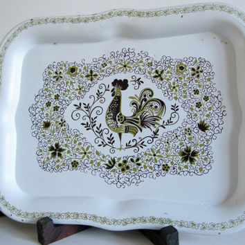 Vintage Rooster Tin Tray