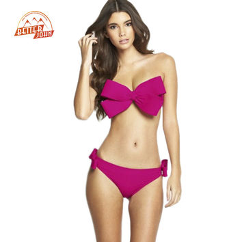 Big Bow Bandeau Beach Wear Halter Swimsuit