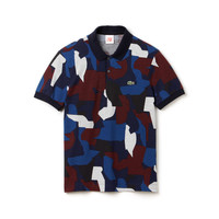 Lacoste LIVE slim fit polo in printed mini piqué