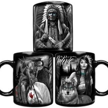 DGA Day of the Dead American Spirit Native American Warrior Wolf Coffee Mug
