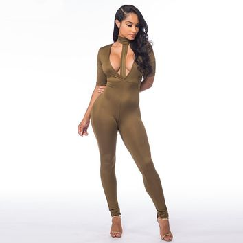 Summer Women Jumpers and Rompers Short Sleeve Deep V neck Long Pants Sexy Bodycon Skinny Bodysuits Playsuits