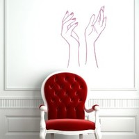 Housewares Wall Vinyl Decal People Woman Female Hands Spa Beauty Salon Nails Manicure Interior Home Art Decor Kids Nursery Removable Stylish Sticker Mural Unique Design for Any Room