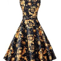 Women Summer Dress 2016 Audrey hepburn Floral robe Retro Swing Casual 50s Vintage Rockabilly Sleeveless Dresses Belt Vestidos