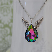 WINGED vintage pear shaped smoke topaz rainbow color glass crystal jewel necklace in antique silver with wings