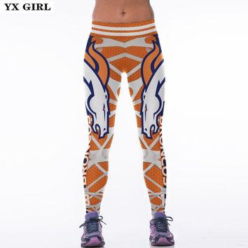 YX GIRL BRONCOS 18 3D Print Women Leggings High Waist Legging Steelers Printed Women Pants Slim Fitness Leggins
