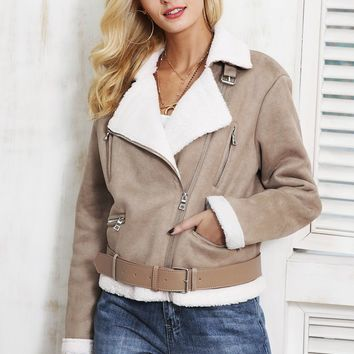 buckle up fur collar aviator jacket