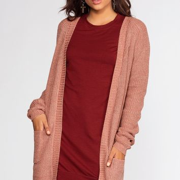Caught In The Breeze Cardigan - Mauve