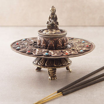 Tibetan Prayer Wheel Incense Burner