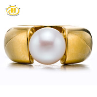 Hutang White Freshwater Pearl (9-9.5mm)  Solid 925 Sterling Silver Ring For Womens Fine Jewelry S925