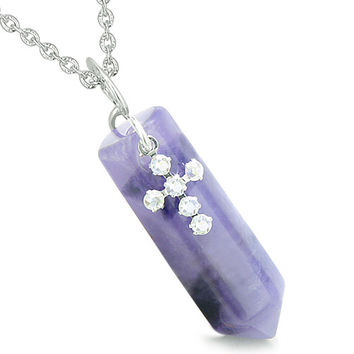 Crystal Point Wand Holy Cross Cute Crystals Charm Amethyst Pendant 22 Inch Necklace