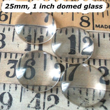 Glass cabochons, 20 pcs 1 inch 25mm Diameter Clear Domed Glass Cabochons, flat back jewels,circle glass tile, rounded glass,glass seal