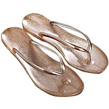 TOKYOT Flip Flops for Women Glitter Beach Sandals Gold Metallic Slippers