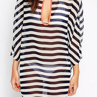 Black and White Stripe 3/4 Sleeve Chiffon Beach Cover Up