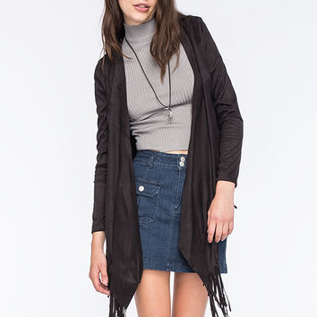 Say What Faux Suede Womens Fringe Kimono Black  In Sizes