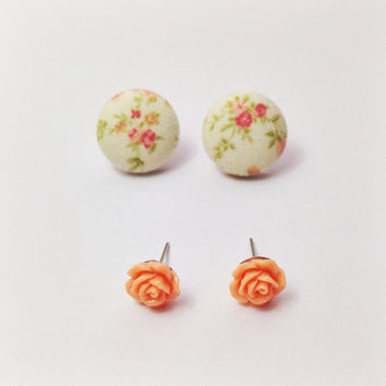 "Handmade ""Emma"" Fabric Button Earrings and Peach Rose Earring Set Vintage earrings jewelry floral print fabric earring"