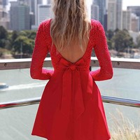Red Long Sleeve Skater Dress with Scoop Bow Back