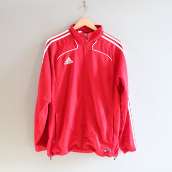 Red Adidas Jacket 3 Stripes Adidas Jersey Lancers Jacket Training Warm-Up Jacket Adidas Track Jacket Tracksuit Vintage 90s Size M #T103A