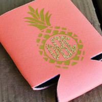 Monogram Koozie Pineapple Preppy Bridesmaid Sorority Wedding Bridal Party Glitter Coozie Koozie