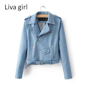 liva girl 2017 Autumn Women New Fashion Leather Jacket Solid Color Long Sleeve Zipper Slim Turn-Down Collar PU Jacket For Women