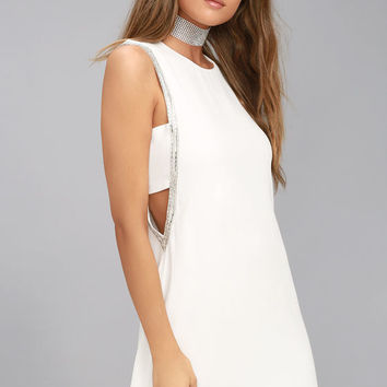 Skylark White Beaded Sheath Dress