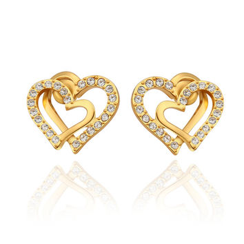 Love me Two Hearts Gold Stud Earrings