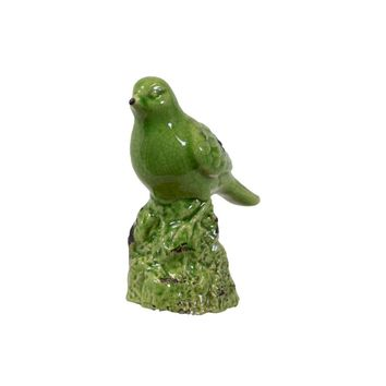 Bird Figurine on a Tree Stump Gloss Finish - Green - Benzara