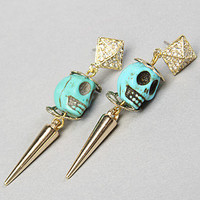 The Diamond Skull Drop Earring