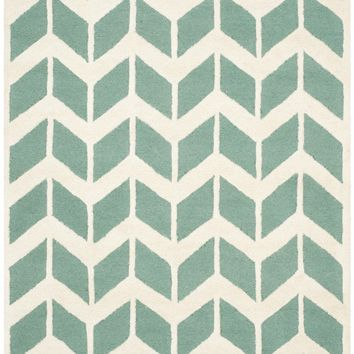 Cambridge Contemporary Indoor Area Rug Teal / Ivory