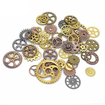 100g/pack Steampunk Watch Parts Art Craft Cyberpunk Cogs Gears Charms Pendant DIY Accessory for wedding birtday party decor