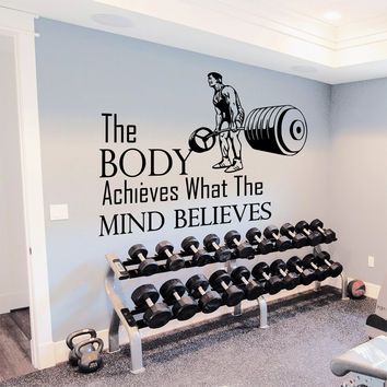 Wall Decal Quotes The Body Achieves Design Vinyl Decals Gym Playroom Nursery Living Room Bedroom Home Decor Art Mural 3792