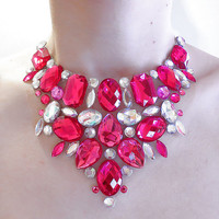 Pink Rhinestone Statement Necklace, Bib Necklace, Jeweled Bib, Elegant, Hot Pink, Pageant, Sparkly Necklace
